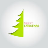 Christmas tree cut out of white paper. Design element for holida Stock Photo