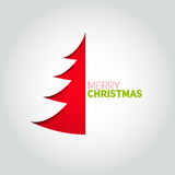 Christmas tree cut out of white paper. Design element for holida Royalty Free Stock Photography