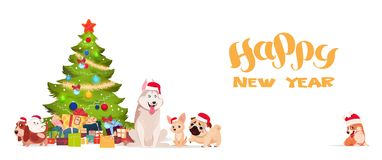 Christmas Tree And Cute Dogs In Santa Hats On White Background Happy New Year 2018 Banner Holiday Greeting Poster. Flat Vector Illustration royalty free illustration