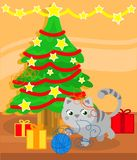 Christmas tree and cute kitty cat. Playing with wool ball, vector illustration Stock Photography