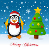Christmas Tree & Cute Penguin on the Snow Stock Photography