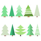 Christmas tree. Cute Christmas tree set in flat style. Great for New year and Christmas design. Vector illustration Stock Photo