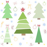 Christmas tree. Cute Christmas tree set in flat style. Great for New year and Christmas design. Vector illustration Royalty Free Stock Images