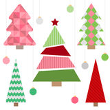 Christmas tree. Cute Christmas tree set in flat style. Great for New year and Christmas design. Vector illustration Royalty Free Stock Photos