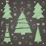 Christmas tree. Cute Christmas tree set. Great for New year and Christmas design. Vector illustration Stock Photo
