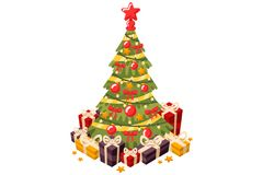 Christmas Tree 3D Flat Vector Illustration. Christmas tree and holiday gifts. Fir-tree decorated with a star balls and garlands. Vector illustration in a flat Stock Images
