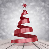 Christmas tree. Is 3d render of  made from red ribbon. If you need some extra personalized ilustration, feel free to contact me. Ill make it for you as fast as Royalty Free Stock Photo