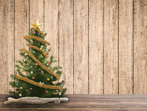 Christmas tree. 3d rendered christmas tree with wooden backdrop Royalty Free Stock Photos