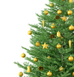 Christmas tree  3d rendering. Christmas tree with golden decorations  over white 3d rendering Stock Photo