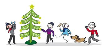 Christmas tree and dancing children. Children smiling near christmas tree. Group of four children and a dog in colorful design. Vector Illustration Stock Photos
