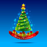 Christmas tree on the dark blue background. Christmas tree with gift box star snow ball and ribbon on the blue background Stock Photo
