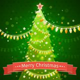 Christmas tree on a dark green background. canvas texture vector Stock Photos