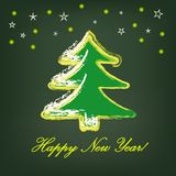 Christmas tree on dark green background. Warmly sparkling Christmas tree on dark green background of 5x7 inch, with the text Merry Christmas and a Happy New Stock Image