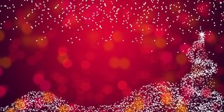 Christmas Tree with de-focused lights Red Abstract background wallpaper. Red Christmas Background with Christmas tree & snow falling. De-focused lights. Welcome Royalty Free Stock Photos