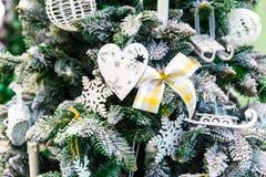 Christmas tree with decor closeup, new year Royalty Free Stock Photos