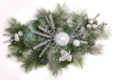 CHRISTMAS TREE DECOR ISOLATED. ON WHITE stock photography
