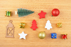 Christmas tree and decor. On natural wooden background Royalty Free Stock Image