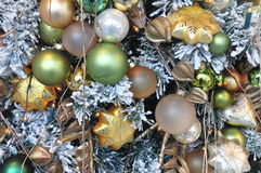 Christmas tree decoratation. Christmas tree decoration with christmnas bulbs and stars on a tree Royalty Free Stock Photos