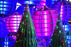 Christmas tree decorate with colorful lighting Stock Photography