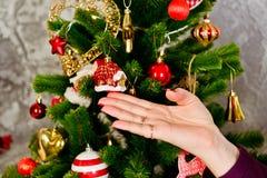 Christmas tree decorate, New year holiday Stock Photos