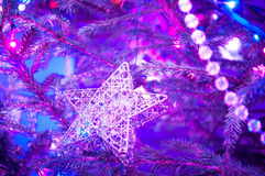 Christmas Tree Decorated. Closeup of Christmas-tree decorations Stock Images