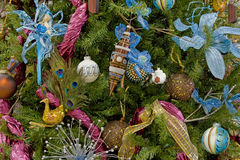 Christmas tree decorated backgrounds. Christmas tree blue and pink decorated backgrounds Royalty Free Stock Images