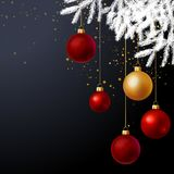 Christmas tree decorated with balls background. White Christmas festive tree decorated with red and gold balls over black glittered background. Vector Royalty Free Stock Photo