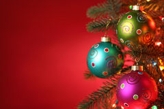 Christmas tree decorated with balls Royalty Free Stock Photo