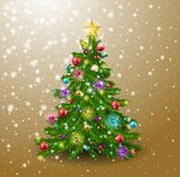 The Christmas tree is decorated with balls, a garland, snowfall and a golden star. Fir tree on golden background. Vector illustration Royalty Free Stock Photo
