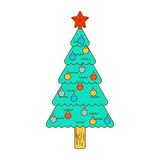 Christmas tree decorated with balls isolated linear style. Festi. Ve Spruce Royalty Free Stock Photography