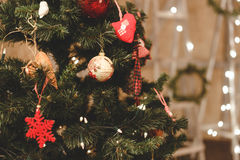 Christmas tree decorated by balls. New Year`s toy. royalty free stock images