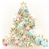 Christmas tree decorated by baubles. And gifts Stock Illustration