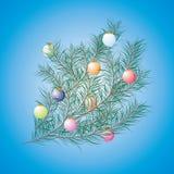 Christmas tree decorated on blue background Stock Image