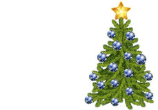 Christmas tree. Decorated with blue balls and golden star isolated on white background Royalty Free Stock Photos
