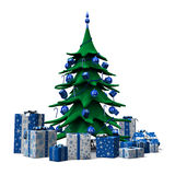 Christmas tree decorated blue with blue presents Stock Images