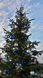 Christmas tree decorated with blue and silver balls. Decorated Christmas tree in city park Royalty Free Stock Photography