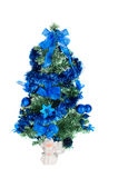Christmas tree decorated with blue toys and angel Royalty Free Stock Photography