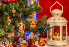 Christmas tree decorated with Christmas toys. Stock Photo