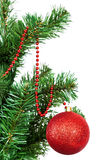 Christmas tree decorated colored balls. Royalty Free Stock Image