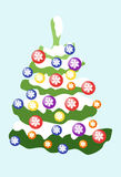 Christmas tree decorated with colored balls with snowflakes. Vector. Image Royalty Free Stock Photos
