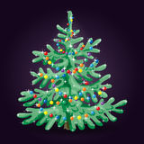 Christmas tree. Decorated with colorful balls on  dark background Royalty Free Stock Images