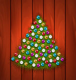 Christmas Tree Decorated Colorful Balls. Illustration Christmas Tree Decorated Colorful Balls on Brown Wooden Background - Vector Stock Image