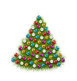Christmas Tree Decorated Colorful Balls. Illustration Christmas Tree Decorated Colorful Balls, Isolated on White Background - Vector Royalty Free Stock Images