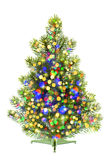 Christmas tree decorated with colorful shiny lights Royalty Free Stock Images