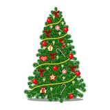 Christmas tree decorated with confetti sequins and glass balls in red and gold color for Christmas holiday garland with lights tra