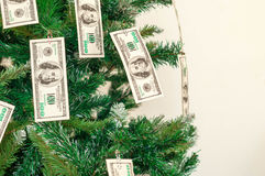 Christmas tree decorated with dollars notes royalty free stock images