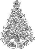 Coloring Christmas tree vector Stock Image