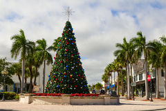 Christmas Tree. Decorated Christmas tree in downtown Fort Pierce in Florida royalty free stock photography