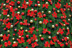 Christmas tree. Decorated with flowers Royalty Free Stock Image