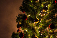 Christmas tree. Decorated Christmas tree with glowing lights Royalty Free Stock Photo